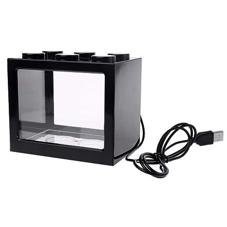 Tandou - Mini Tanque de Acuario USB con lámpara LED y Cilindro de Combate para Peces
