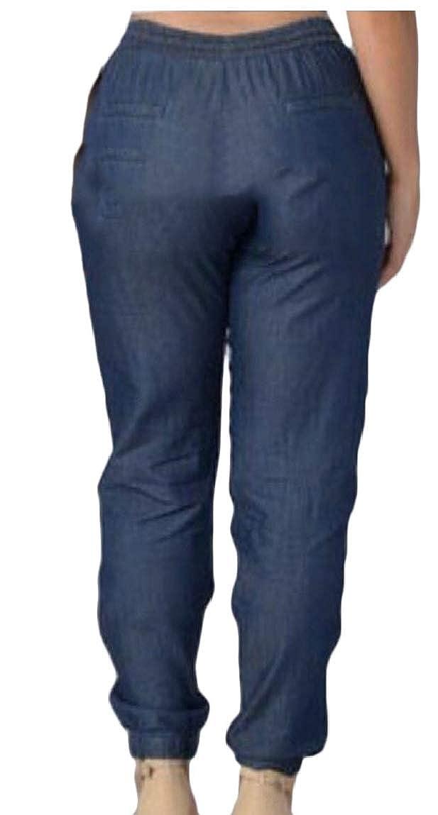 WSPLYSPJY Womens Jogger Denim Elastic Drawstring Waisted Stretchy Casual Jeans