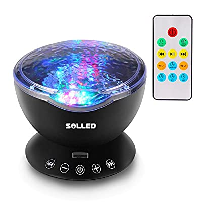 SOLLED Christmas Gift Multicolor Ocean Wave Porjection Lights with Built-in Music Player Projector Night Light Nursery Lamp for Kids Bedroom Mood Lighting Home Decoration