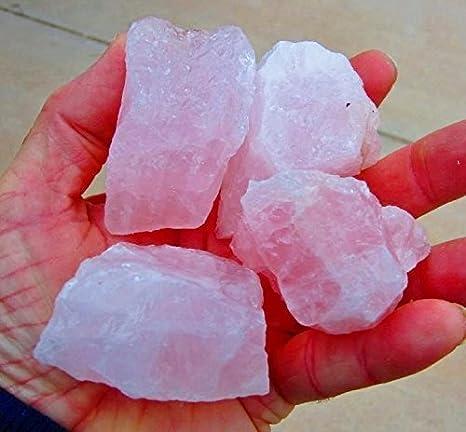 GeoSpecimens - Juego de Piedras de tamaño Mediano de 1/2 Libra, Cuarzo Rosa, Cristal Mineral, Cuarzo Rosa, Cuarzo Natural, Corte, Cuentas, Cara áspera de Brasil