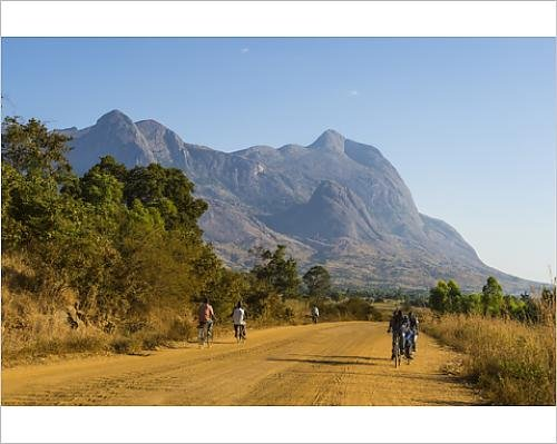 10x8 Print of Road leading to the granite peaks of Mount Mulanje, Malawi, Africa (11306014)