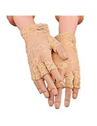 URSFUR Sexy Women Lace Fingerless Gloves Outdoor Hiking Wedding Party Accessory (Free Size, Beige)