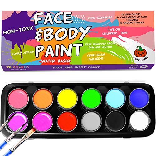 Kids face Paint - Safe Professional 12 Large Washable Paints 36 Face Paint Stencils for Kids 3 Brushes - Non-Toxic Face Painting Kits for Sensitive Skin - Face Body Paint Kits for Kids Party - Easter -