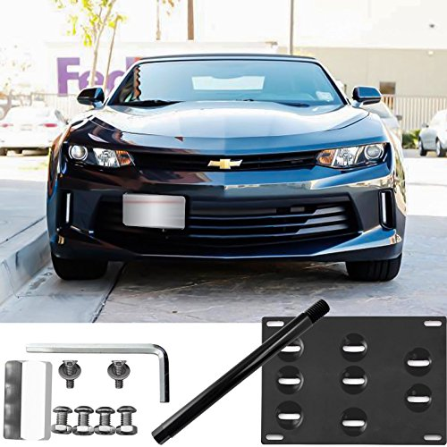 (Xotic Tech Front Bumper License Plate Tow Hook Bracket Kit for Chevy Camaro 2016-up Black)
