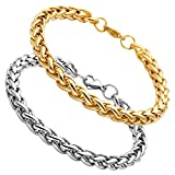 EasySo Stainless Steel 7mm Wheat Chain Bracelet for Men Women Curb Link Chain 8 Inches 2Pcs Gold & Silver Tone