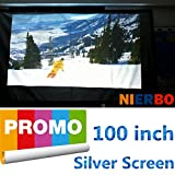 Portable 3D projector Screen silver metal screen for film video can fixed screen 16:9 72-300 inch (16:9 | 100-in | 7.3x4.2 Ft)