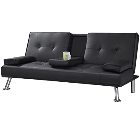 Magnificent Tinkertonk Cheap Faux Leather Tv Cinema Sofa Bed On Chrome Legs With Pull Down Drinks Holder Sofa Beds Black Squirreltailoven Fun Painted Chair Ideas Images Squirreltailovenorg