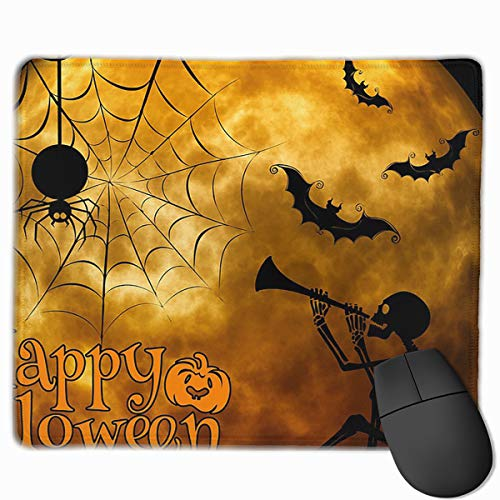 Skeleton Pumpkin Funny Halloween Personalized Mouse Pad Mat for Laptop Computer & PC 11.8 X 9.8 Inch -