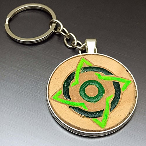 [Greenery Celtic Circle Knot Hand-Painted Tooled Veg Tanned Leather Keychain] (Camper Gothic Costumes)
