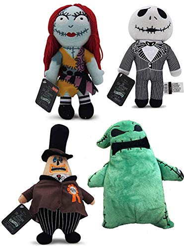 Nightmarish 4 Nightmare Before Christmas Jack & Sally Plush Doll & Green Oogie Boogie + Mayor of Halloweentown Stuffed Character Pack (Before Evil Christmas Nightmare Toys)