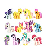 Phantomx 12 PCS My Little Pony Action Figures Toy Rainbow Dash Celestia Cake Topper Gifts
