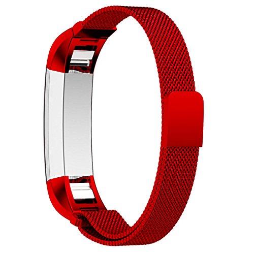 Bepack Band for Fitbit Alta HR Stainless Adjustable Steel Bracelet Fitness Bracelet for Fitbit Alta 2 HR (Red, Small (190mm)) by bepack