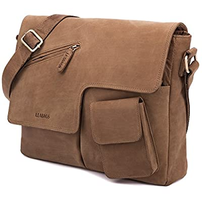 LEABAGS Manchester genuine buffalo leather messenger bag in vintage style - luggage