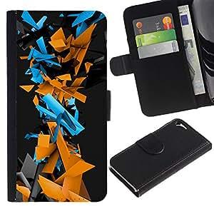 EJOY---Tirón de la caja Cartera de cuero con ranuras para tarjetas / Apple Iphone 5 / 5S / --Patrón Geometría abstracta del Cyber