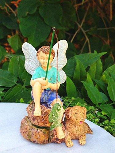 My Fairy Gardens Miniature - Gone Fishin' Boy Fishing with Dog - Mini Dollhouse Supply Expressions (Garden Statue Reading Boy)