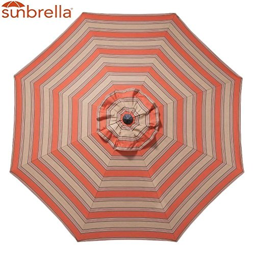 Replacement Canopy Umbrella Sunshade Sunbrella Canopy Top 9 Ft 8-Rib Outdoor Patio Umbrella Non Faded Sunbrella Fabric UV Protection (Sunbrella, Poppy Stripe)