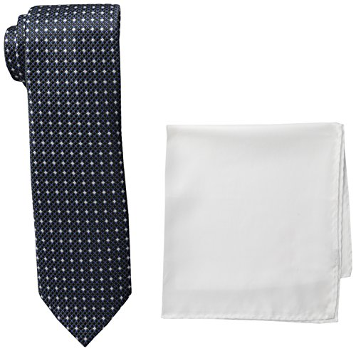 Steve Harvey Men's Tall Neat Woven Necktie and Solid Pocket Square, Large Long, Black (Mens Neckwear Solid)