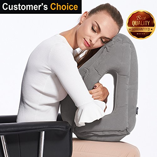 Inflatable Travel Pillow Sleep Aid – with Eye Mask, Earplugs, & Carry Pouch - Airplane Pillow for Long-Haul Flights & Road Trips – Fast Inflate / Deflate, Compact, & Fully Supportive Accessories