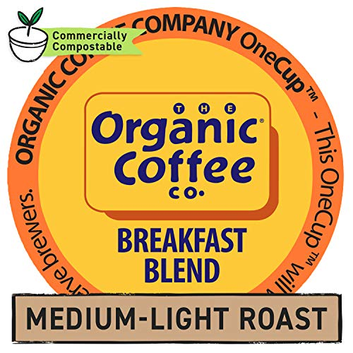 The Organic Coffee Co. OneCup, Breakfast Blend, Single Serve Coffee K-Cup Pods (80 Count), Keurig Compatible
