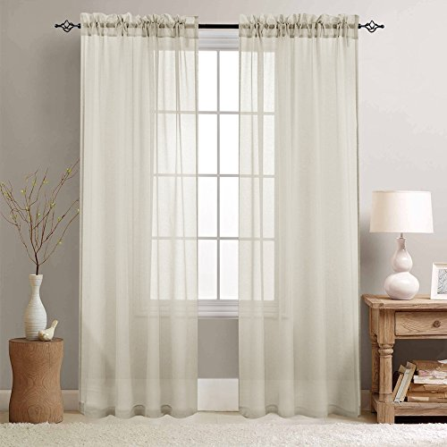 Rod Pocket Sheer Curtains for Living Room / Bedroom Voile Curtain Set, (Set of Two, 55