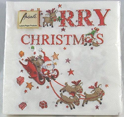 Tovaglioli carta 'Merry Christmas' Babbo Natale con slitta e renne. 20pz cm.33x33 Ambiente
