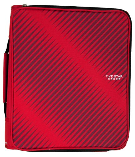 "Five Star 2"" Durable Zipper Binder, Includes 6 Pocket Expanding File, Red (72538)"