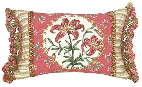 123 Creations 100-Percent Wool Tiger Lily Petit Point Pillow with Fabric Trimmed, 18
