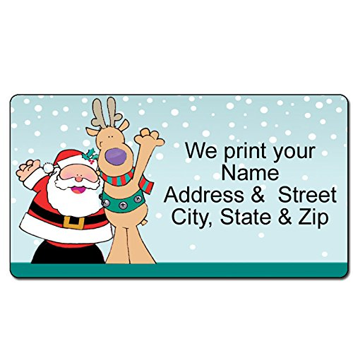 Santa & Reindeer Christmas Address Label - Sants Cheers Customized Return Address Label - 90 - Humor Labels Address