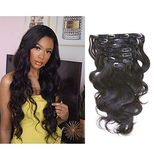 LacerHair Clip in Human Hair Extensions Body Wave Real Remy 100% Brazilian Virgin Hair 120G Balayage Full Head For Double Weft Natural Black #1B 7 Pieces/Set 10-22 Inch (16 inch, Body Wave #1B)