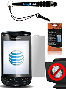 IMAGITOUCH(TM) Stylus and Anti-Glare LCD Screen Guard Protector Cover Cleaning Cloth for Blackberry 9810 Torch