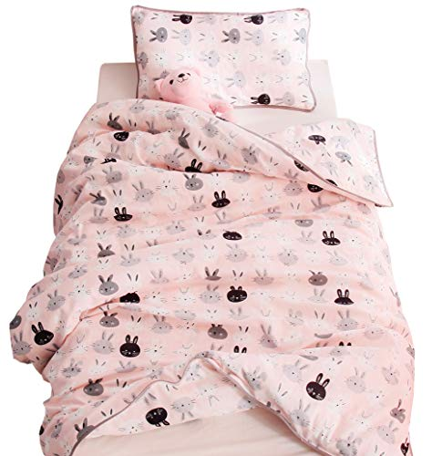 J-pinno Boys Girls Pink Bunny Muslin Duvet Covers, 100% Cotton, Invisible Zipper, for Kids Crib/Twin Bedding Decoration Gift (Twin 59'' X 78'', Pink) by J-pinno