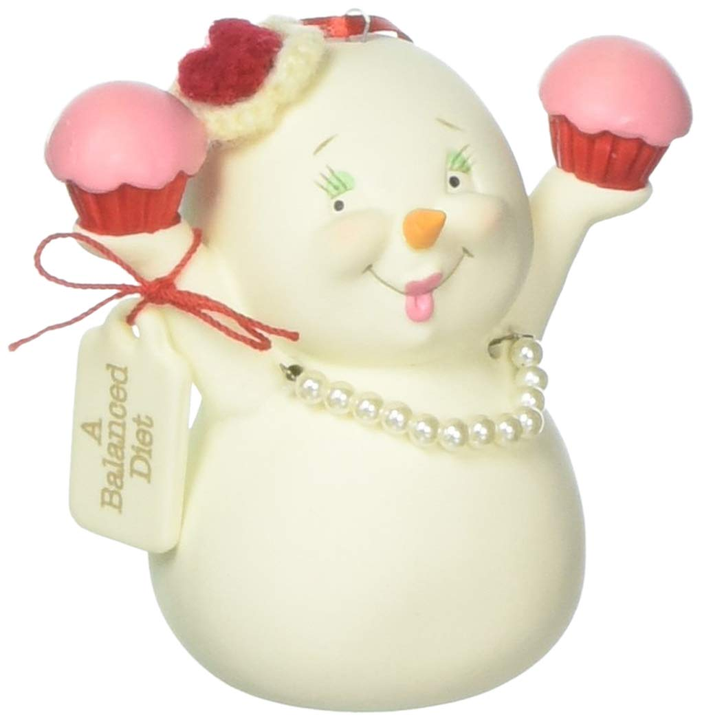 "Department 56 Snowpinions /""A Balanced Diet/"" Porcelain Snowman Hanging Christmas Ornament 3/"""