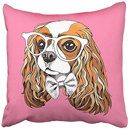 18X18 Inch Decorative Throw Pillow Cover Polyester Dog Portrait of The Cavalier King Charles Spaniel in Glasses Bow Tie On Pink Funny Cool Cushion Two Sides Pillow Case Square Print for Home