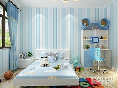 "HaokHome® 1092 Modern Stripe Wallpaper,Blue Home Kids bedroom Wallpaper Decor 20.8"" x 393.7"" (Blue Stripe)"