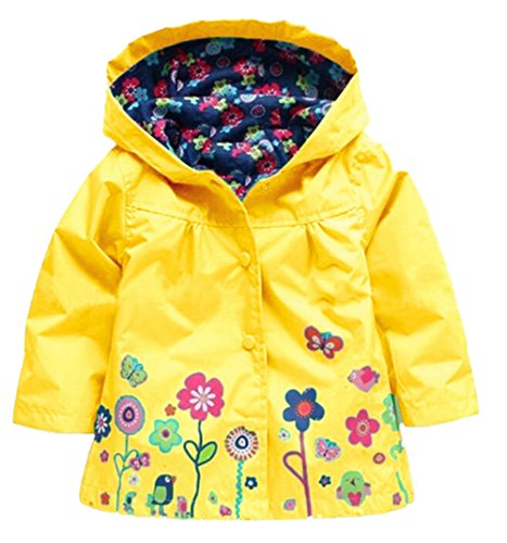Wind Yellow Waterproof Colorful JIANLANPTT Flower Hooded Girls' Rain Coat Baby Jacket qOxx6vw8
