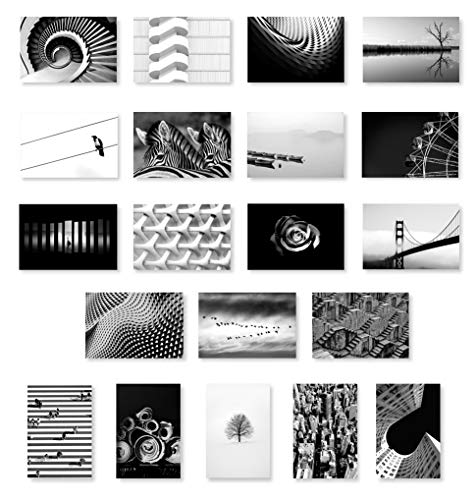 (BLACK & WHITE postcard set of 20 postcards. B&W post card variety pack. Made in)