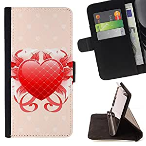 DEVIL CASE - FOR Apple Iphone 5C - Floral heart - Style PU Leather Case Wallet Flip Stand Flap Closure Cover