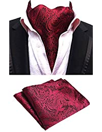 MOHSLEE Men 100% Silk Red Wine Paisley Ascot Woven Cravat Ties Pocket Square Set