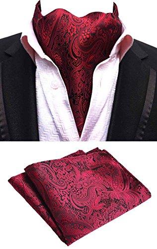 - MOHSLEE Men 100% Silk Red Wine Paisley Ascot Woven Cravat Ties Pocket Square Set