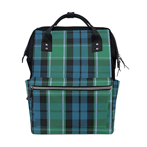Graham of Menteith Tartan Diaper Bag Backpack, Large Capacity Muti-Function Travel Backpack Nappy Bags Travel Mom Backpack for Baby Care