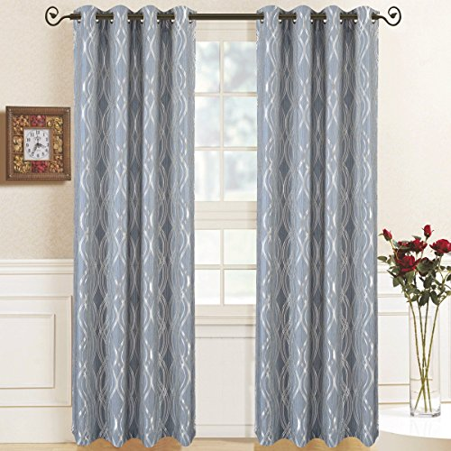 Regalia Blue Top Grommet Abstract Jacquard Textured Window Curtain Panel, Set of 2 Panels, 104x84 Inches Pair, by Royal Hotel