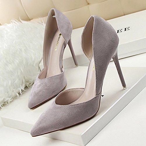 10 con de mujer Gris tacones zapatos tacones XiaoGao con altos centímetros de afilados TwFxq6H6a