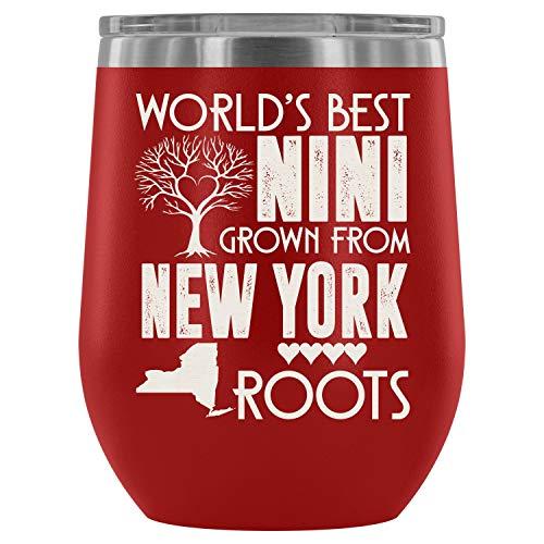 Mom Mug-Steel Stemless Wine Glass Tumbler, Cool New York Girl Vacuum Insulated Wine Tumbler, World's Best Nini Grown From New York Roots Wine Tumbler (Wine Tumbler 12Oz - Red)]()