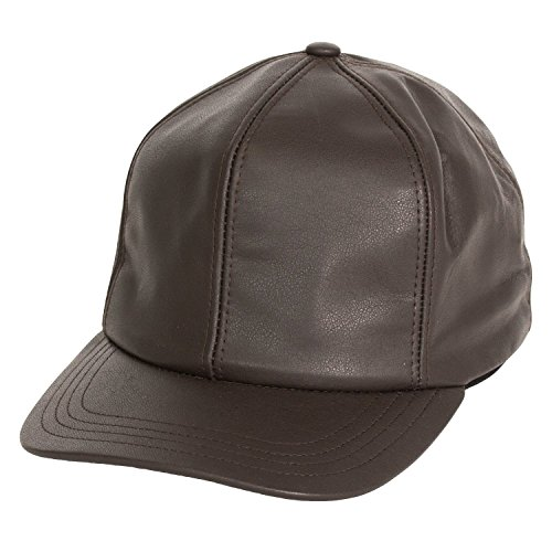 Levine Men's Structured Fitted Garment Leather Baseball Cap (Medium (fits 7 to 7 1/8), Brown)