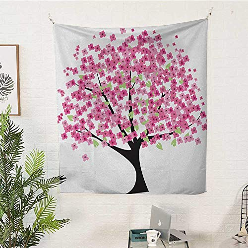 Garnet Asian Rug - sunsunshine Nature Bedroom Tapestry Cherry-Blossom-Lonely-Tree-Asian-Japanese-Gardening-Theme-Sakura-Blossoms Gorgeous Tapestry 54W x 72L INCHPink-Black-White