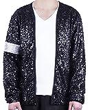 MJB2C - Michael Jackson Costume Billie Jean Armband Sequin Jacket Kids Child (6-7Y) Black