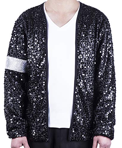MJB2C - Michael Jackson Costume Billie Jean Armband Sequin Jacket (Child 8-9Y) Black -