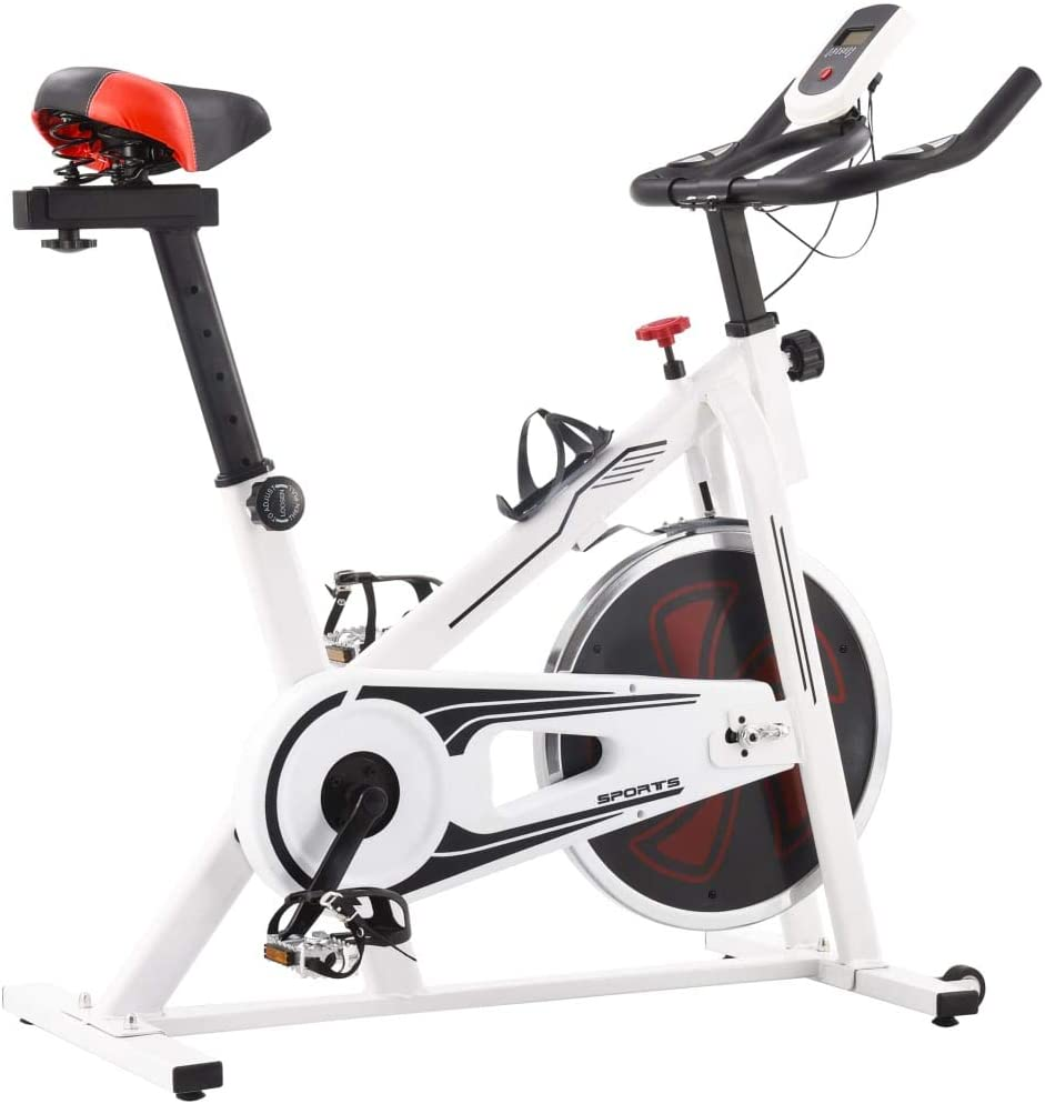Tidyard Bicicleta de Spinning con sensores de Pulso Blanca y roja 97 x 46 x 108 cm: Amazon.es: Hogar