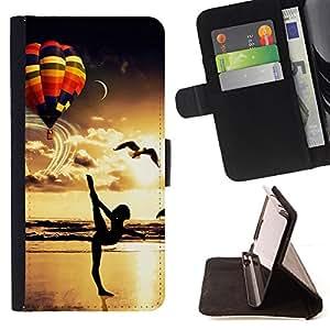 BullDog Case - FOR/Samsung Galaxy S4 Mini i9190 / - / balloon yoga sunset bird gold ocean beach /- Monedero de cuero de la PU Llevar cubierta de la caja con el ID Credit Card Slots Flip funda de cuer