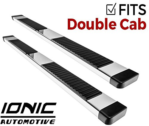 (Ionic 51 Series Brite Running Boards 2014-2018 Chevy Silverado GMC Sierra Double Cab 1500 Gas Engine (No Mud Flaps))